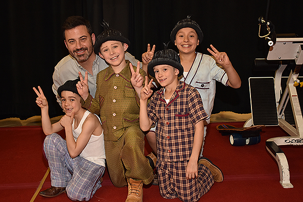 Jimmy Kimmel poses with Kids of Liverpool Characters from The Beatles LOVE by Cirque du Soleil 3.30.2019